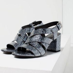 Zara Grey Sparkly Strappy Sandals Glitter Heels